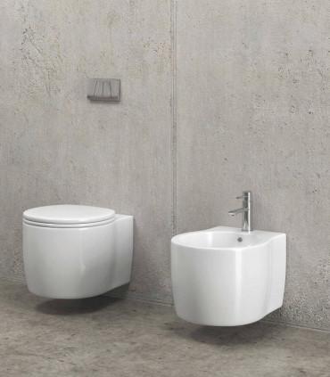 coppia sanitari sospesi bagno scarico a parete impression vaso e bidet e copriwater ap shop online