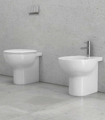 coppia sanitari bagno filomuro scarico parete vaso e bidet e copriwater paros ap shop online