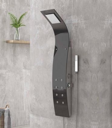 colonna pannello doccia idromassaggio nero lucido alluminio ed acrilico 8 getti haris ap shop online