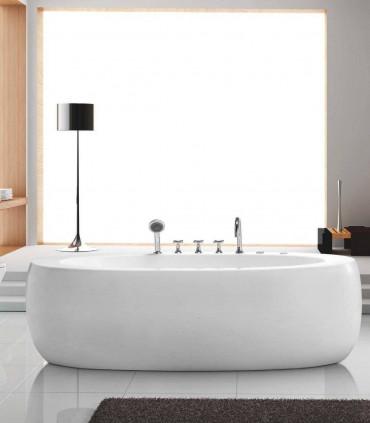 vasca da bagno idromassaggio 190 cm diana ovale bianca centro stanza moderna freestanding posizionamento libero ap shop online