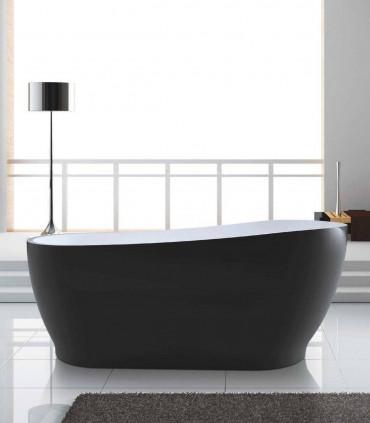 Vasca da bagno 170 cm nero opaco matt in acrilico moderna posizionamento libero centro stanza freestanding