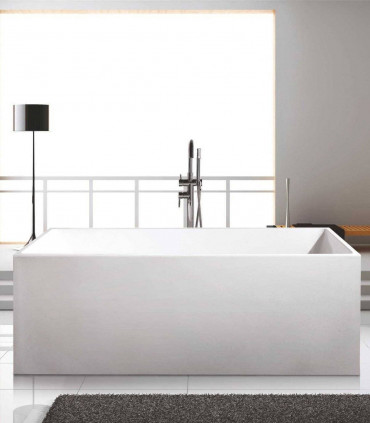 vasca in ceramica 170 cm rettangolare bianca centro stanza freestanding kyveli ap shop online