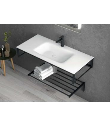 mobile bagno in ferro sospeso stile industrial in nero opaco matt 100 cm strutturametallo acciaio inox ap shop online