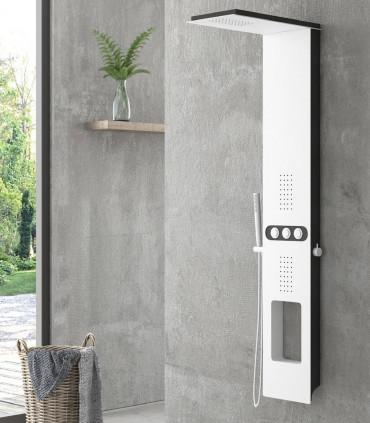 colonna doccia pannello doccia idromassaggio bianco nero touch in alluminio due postazioni getti tre funzioni ap shop online